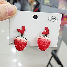 52546耳钉式, 心形, 食物/饮料草莓 心形
