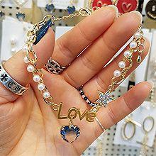 52535锁链形, 单层链, 心形, 字母数字/符号心形 字母 珠子 圆形 珍珠 星星