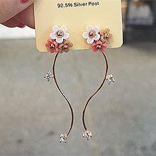 54253耳钉式, 植物S形 花 后挂式