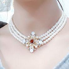 54328穿珠链, 多层链, 植物三层 花 珍珠 珠子