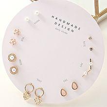 54358耳�式, 心形, 植物心形 花 水滴形 珍珠 珠子 V形 十四件套