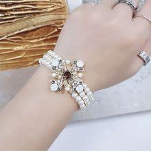 54331穿珠链, 多层链, 植物三层 花 珍珠 珠子