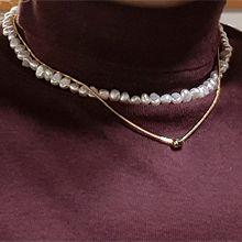 54329穿珠链, 多层链巴洛克珍珠 双层 蛇链 椭圆形 两件套