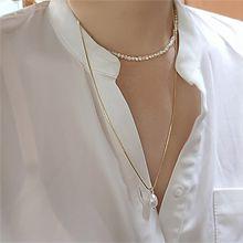 54330穿珠链, 多层链巴洛克珍珠 珠子 两件套 双层 蛇链