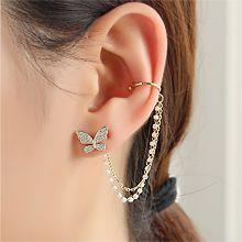 54398耳钉式, 植物蝴蝶 耳夹 后挂式  不对称