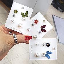 54433耳钉式, 植物, 动物蝴蝶 花 不对称 珠子 珍珠 六件套
