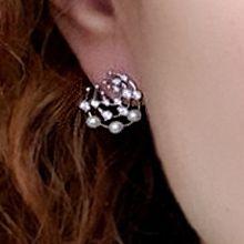 54452耳钉式弧形 网状 珍珠 珠子