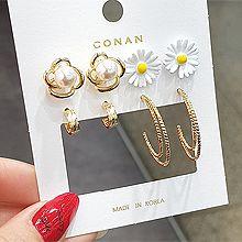 54458耳钉式, 植物C形 花 珍珠 珠子 八件套