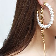 54461耳钉式C形 珍珠 珠子 后挂式 流苏