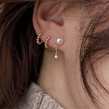 54546耳钉式珍珠 珠子 锁链 整件925银