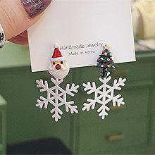 54565耳钉式, 天体自然现象, 植物松树 雪花 圣诞老人 不对称