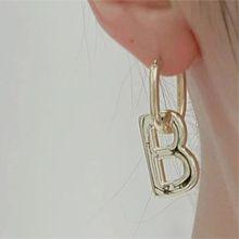 54574耳圈耳扣, 字母数字/符号字母B  椭圆形
