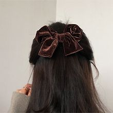 54580边夹顶夹, 蝴蝶结蝴蝶结 弹簧夹 纯色 绒布