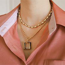 54441锁链形, 穿珠链, 多层链正方形 珠子 双层 两件套