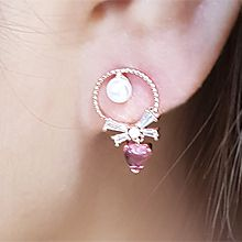 54610耳钉式, 蝴蝶结, 心形圆环 蝴蝶结 心形 珍珠 珠子