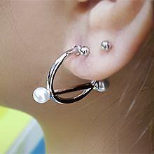54637耳钉式C形 珍珠 珍珠 半圆