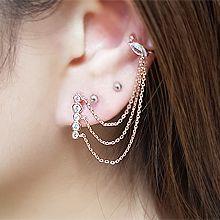 54735耳钉式, 耳夹叶子 流苏 圆形 耳夹