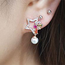 54740耳�式, 天�w自然�F象星星 �L方形 珍珠 珠子