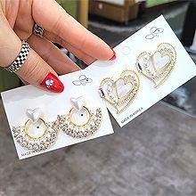 54762耳�式, 心形心形 �L方形 扇形 �A�h 珍珠 珠子