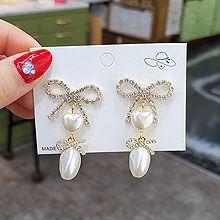 54763耳钉式, 蝴蝶结, 心形蝴蝶结 心形 不规则形 珍珠 珠子