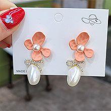 54765耳钉式, 蝴蝶结, 植物花 蝴蝶结 打结 珍珠 珠子 不规则形