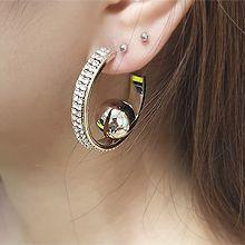 54781耳钉式C形 珍珠 珠子 圆球