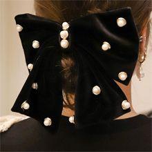 54643边夹顶夹, 蝴蝶结蝴蝶结 珍珠 珠子 弹簧夹 绒布