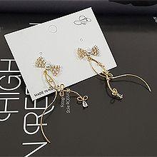 52593耳钉式, 蝴蝶结蝴蝶髻 圆形 珠子 珍珠