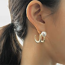 52598耳钉式珍珠 珠子 圆形 C形