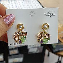 52608耳钉式, 植物花 珠子 圆形 珍珠