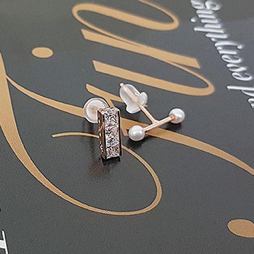 52660耳钉式, 平面/立体几何图形长方形 圆形 珠子 珍珠