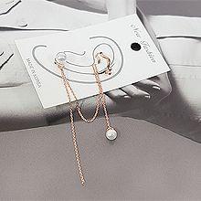 52661耳钉式, 耳夹, 平面/立体几何图形圆形 C形 波浪 流苏 珍珠