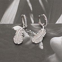 52677耳圈耳扣, 动物, 平面/立体几何图形明星款 圆形 羽毛 不规则形