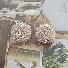 52678耳钉式, 植物, 平面/立体几何图形花 圆形  珍珠