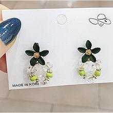 52710耳钉式, 植物, 平面/立体几何图形, 其他形状花 圆形 三角形 珍珠