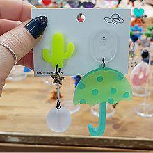 52740耳钉式, 字母数字/符号, 植物, 其他用品用具, 平面/立体几何图形仙人掌 椭圆形 雨伞 珠子 圆形