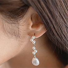 52811耳钉式, 平面/立体几何图形, 其他形状圆形 水滴形 珍珠