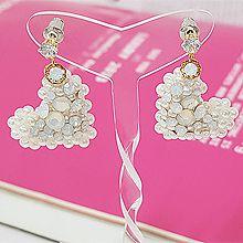 52849耳钉式, 心形, 平面/立体几何图形心形 圆形 珍珠