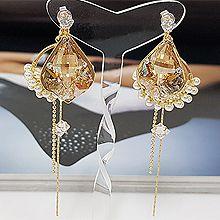 52859耳钉式, 平面/立体几何图形, 其他形状圆形 椭圆形 流苏 后挂式 珍珠