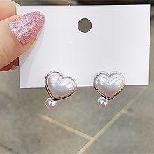 52863耳钉式, 心形, 平面/立体几何图形, 其他形状心形 圆形 珍珠 后挂式