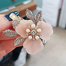 52789边夹顶夹, 植物, 平面/立体几何图形花 叶子 圆形 珍珠 鸭嘴夹
