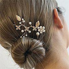 52820边夹顶夹, 植物, 平面/立体几何图形花 叶子 圆形 珍珠