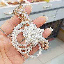 52842发圈发绳, 植物, 平面/立体几何图形, 其他形状花 圆形 珍珠