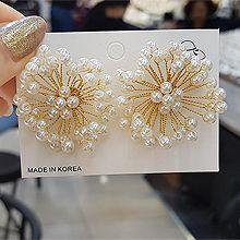 52949耳钉式, 植物, 平面/立体几何图形, 其他形状花 流苏 圆形 珍珠