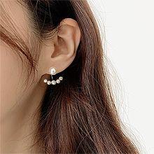 52956耳钉式, 平面/立体几何图形, 其他形状圆形 弧形 珍珠 后挂式