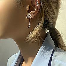 52981耳钉式, 耳圈耳扣, 植物, 平面/立体几何图形, 其他形状花 圆形 水滴形 不对称 锁链