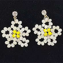 52993耳钉式, 植物, 平面/立体几何图形花 圆形 圆环 珠子