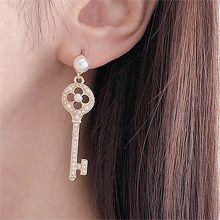 53008耳钉式, 锁具, 平面/立体几何图形, 其他形状圆形 钥匙 花 珍珠