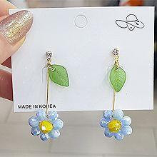 53017耳钉式, 植物, 平面/立体几何图形花 叶子 长方形 圆形 珠子