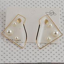 53027耳钉式, 平面/立体几何图形, 其他形状正方形 圆形 三角形 珍珠